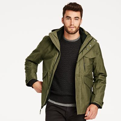 Timberland Men's Ragged Mountain 3-In-1 Waterproof Field Jacket Military Olive