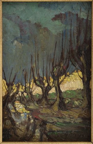 Knotwilgen - z.j., olieverf/paneel, 38,5 x 25 cm, gesigneerd r.o.: A Kruysen