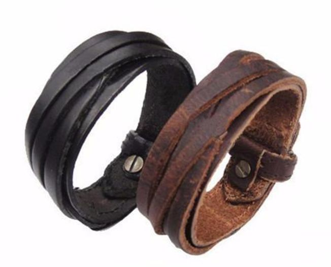Genuine Leather, interwoven armlet. For more fine wares visit www.tungstenandcarbide.com