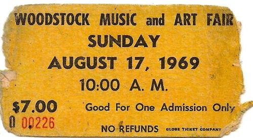 .: Concerts Ticket, Ticket Stubs, Art Fair, 60S, Woodstock Ticket, Woodstock 1969, Cool Photo, Woodstock1969, Woodstock Music