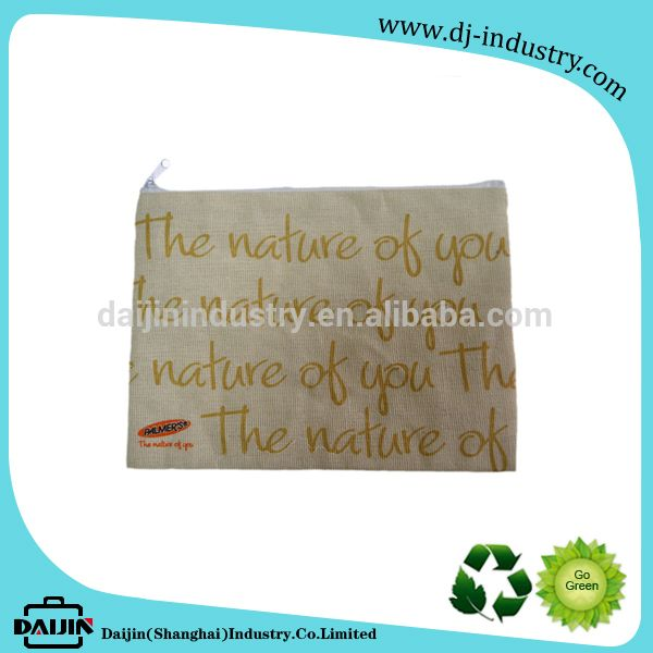 2017 Wholesale cosmetic pouches with custom logo natural small linen zipper bag
