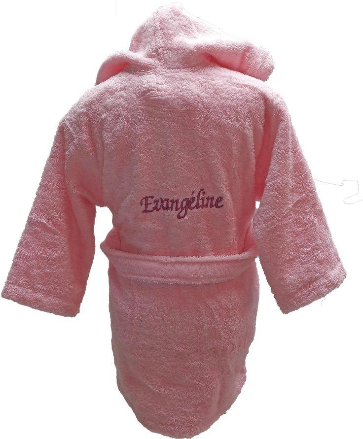 Peignoir enfant personnalisé Evangéline brodé dans le dos par Brodeway.com #peignoirenfant #cadeaupersonnalisé