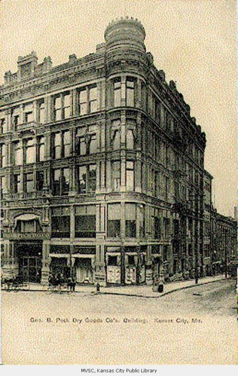 George B. Peck Dry Goods Company - was formerly the Doggett Store Co., owned by John Doggett, early day merchant who opened his first store in KC in 1866.  In 1916, this is where Nelly Don first sold her dresses.