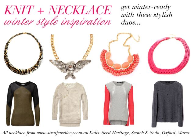 Perfectly paired knits and necklaces