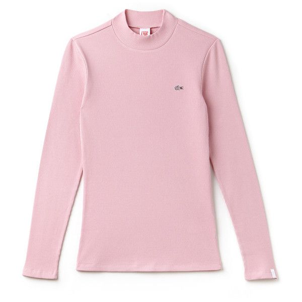 Pink Women's Lacoste Live Stand-Up Collar Ribbed Cotton T-Shirt ($94) ❤ liked on Polyvore featuring tops, t-shirts, pink top, stretchy t shirts, slim t shirts, slim tee and slim fit tees
