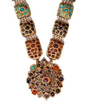 Beautiful Mughal Navaratna necklace from early 18th century Hyderabadfrom 18th century Lucknow, with the unique Kundan technique with flat-cut diamonds and mounted with Basra pearls showing the fine craftsmanship of the imperial workshops.