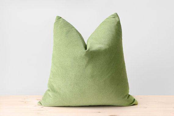 Green Velvet Pillow Cover Solid Green Cushion Pistachio Green, Sage Green, Dusty Green, Almond Green, Cotton Velvet Throw Pillow 18x18 20x20