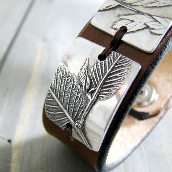 Three, Earth Jewelry, Fine Silver and Leather Cuff, Natural Plant Reproductions, Artisan Handmade Bracelet by SilverWishes