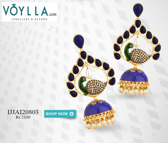 #Peacock Inspired #Jhumki #Earrings Click Here- http://www.voylla.com/products/peacock-inspired-jhumki-earrings-1