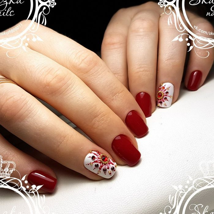Unghii Rosii Pentru Iarna Best Nail Art Designs Ring Finger Nails Red And White Nails