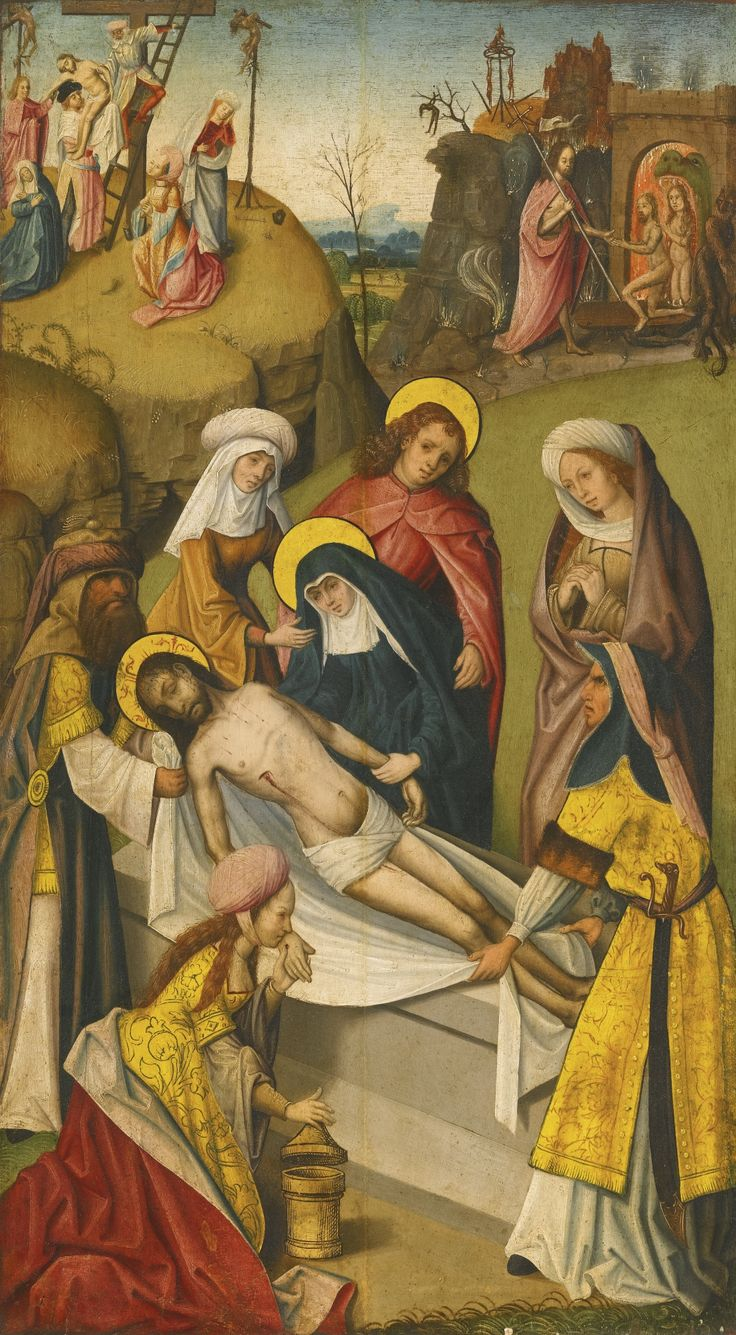 Netherlandish School, circa 1510 THE ENTOMBMENT OF CHRIST WITH THE HARROWING OF HELL AND THE DESCENT FROM THE CROSS BEYOND; VERSO: A BISHOP SAINT oil on oak panel 73.8 by 41.5 cm.; 29 by 16 1/4  in.