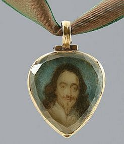 Rare Antique Gold Stuart Crystal Heart Locket, Charles I- 17thC
