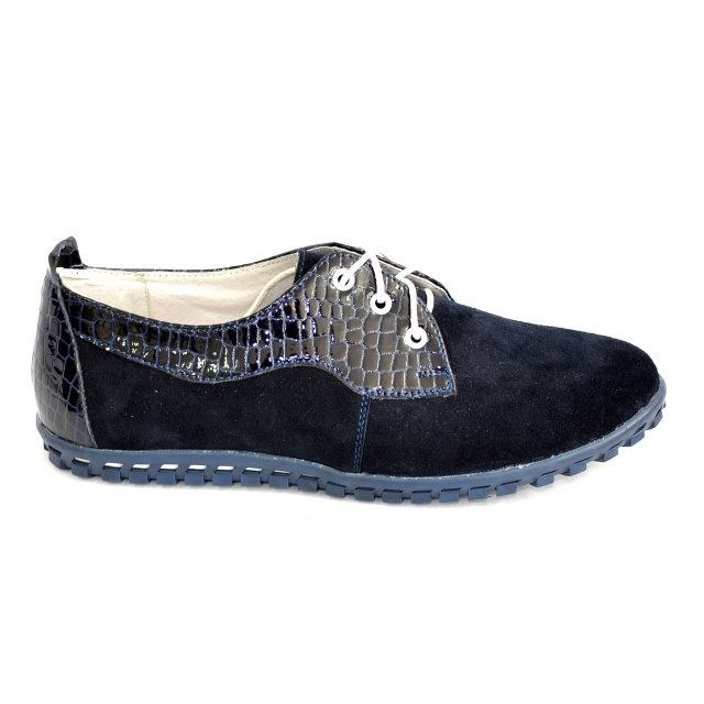 Женские синие туфли на шнуровке, натуральный замш и лак рептилия, фото 1