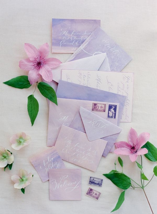 4. Lavender and Lilac Watercolor Wedding Stationery