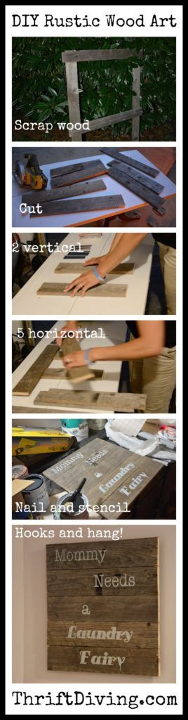 DIY Woodworking Ideas Learn how to use rustic wood to create DIY wall art, with a stencil on top! This...
