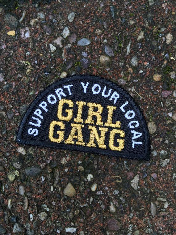 Mädchen-Bande Eisen auf Patch gestickt / von halfstitchembroidery