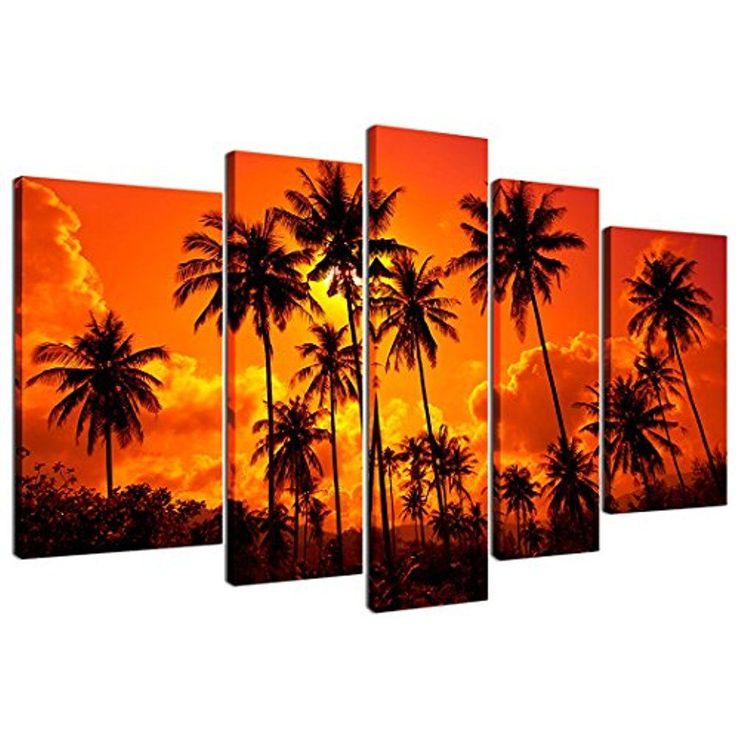 Framed Landscape Sunset Palm Trees Canvas Art Print Picture Wall Home Decor New #ArtHome #Impressionism