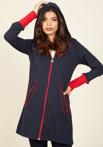 What She Francaise, Goes Jacket - Blue, Red, Solid, Trim, 60s, 70s, Hoodie, Fall, Knit, Long, 1, Casual, Lounge, Nautical, Vintage Inspired, Mod, Long Sleeve, Winter, Best, Saturated