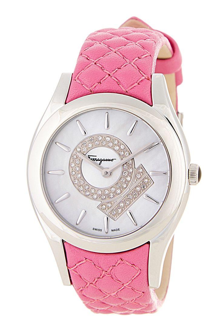 Salvatore Ferragamo Women's Pink Leather Strap Diamond