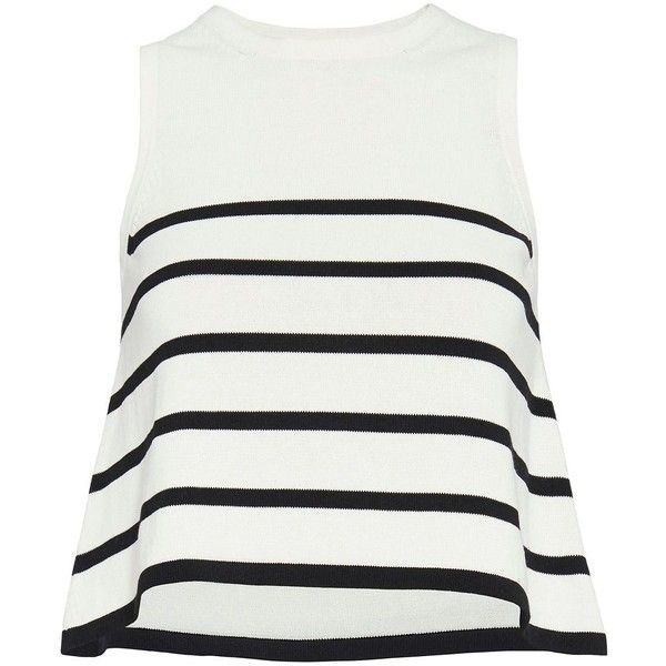 Cardigan EXCLUSIVE Striped Knit Tank ($218) ❤ liked on Polyvore featuring tops, shirts, tank tops, blouses, blusas, white tank, white striped shirt, white tank top, striped crop top and knit shirt