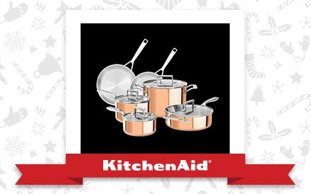 The Copper Tri-Ply 10-Piece Cookware Set is the appliance of my holiday dreams. Declare and Share your favourite KitchenAid small appliance for a chance to win it!