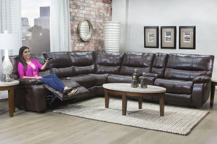Lotus Chocolate 6 Piece Reclining Sectional   Sectionals   Living Room | Mor  Furniture For Less | Home Design | Pinterest | Reclining Sectional, Lotus  And ...