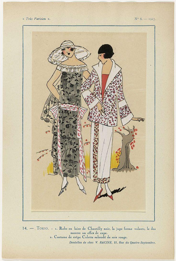 Anonymous | Très Parisien, 1923, No 6: 14. - TOKIO. - 1. Robe en laize de Chantilly..., Anonymous, V. Racine, G-P. Joumard, 1923 | 1. Jurk van zwarte 'laize de Chantilly' (kant); de rok bestaat uit volants, de rug lijkt een cape te hebben. 2. Kostuum (mantelpak) van crêpe Colette geborduurd met rode zijde. Kant van V. Racine. Prent uit het modetijdschrift Très Parisien (1920-1936).