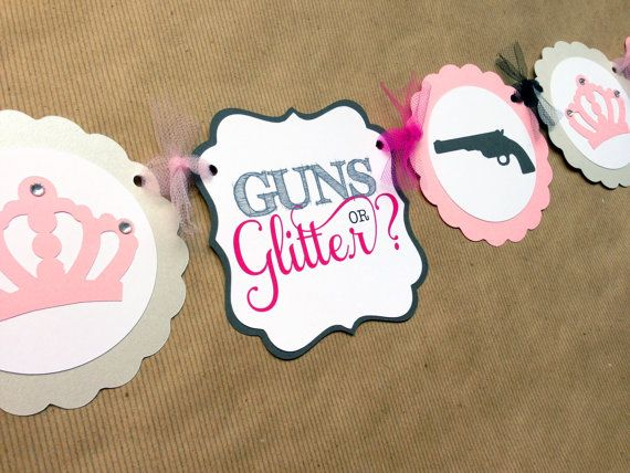 GUNS or GLITTER Gender reveal baby shower- 5x7 Double Sided PDF digital file Your Digital invitation is designed to be printed 5x7 which will fit