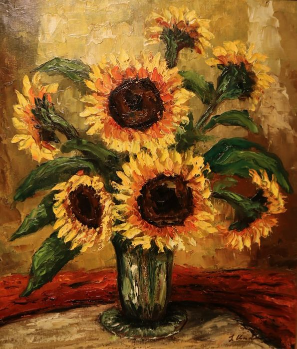 J. van Linden (20e eeuw) - Stilleven met zonnebloemen  Bijzonder fraai geschilderd olieverfschilderij voorstellende een vaas met zonnebloemen. Vlot geschilderd met een dikke toets en felle kleuren die van het canvas af spatten. De signatuur is slecht te lezen maar vermoedelijk staat er J. Van Linden. De conditie is uitstekend en het werk is fors van formaat: 85 x 75 cm. Na veiling wordt het werk goed verpakt aan u verzonden maar is ook af te halen in Barendrecht vlak onder rotterdam.  EUR…