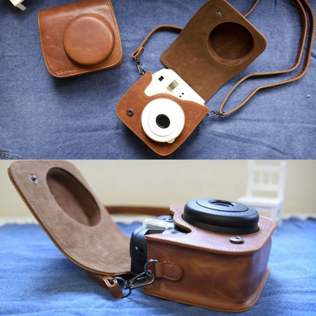 NEW Leather Camera Case Bag For Fuji Fujifilm Instax Mini 8 Mini8s Retro Brown