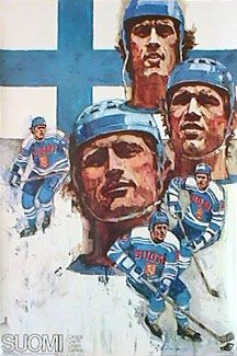 Team Finland Hockey 1976 Vintage Original Sports Poster - Canada Cup Poster Series