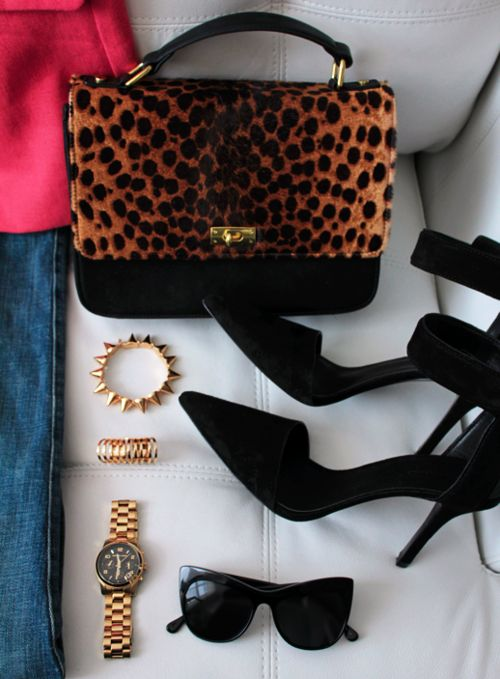 leopard: Fabulous Accessories, Shoes Spikes, Leopards Shoes, Accessor Accessor, Black Heels, Animal Prints, Leopards Prints, Accessor Collection, Bags