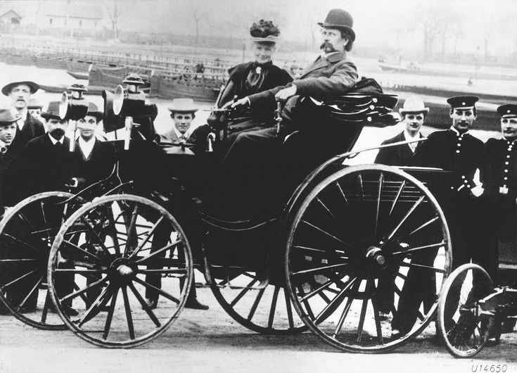Karl Benz with his wife, Bertha Benz, in a Benz Victoria, 1894 model