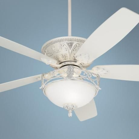 "60"" Casa Vieja Montego Rubbed White Ceiling Fan with Light - #R4086-R4090-V4314 