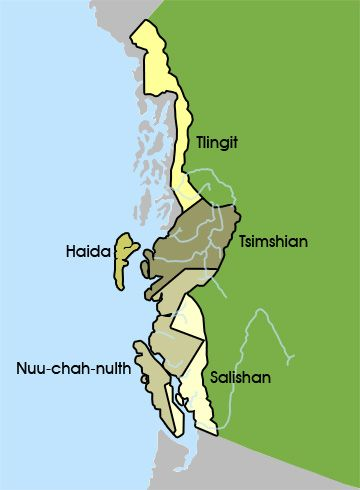 The Northwest Coastal People - Groups in this Region. Environment/Housing, Food/Hunting/Tools, Transportation/Migration, Religion/Ceremonies/Art/Clothing, Family/Social Structure/Leadership, Tribal Relations/War