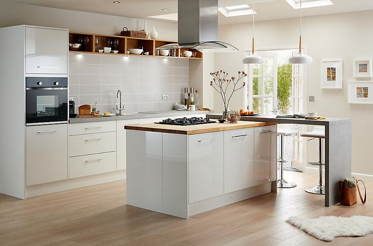 You can really enhance the space in your kitchen by choosing white units. Mix with natural worktops like wood or granite to create a space you'll want to cook and entertain in.