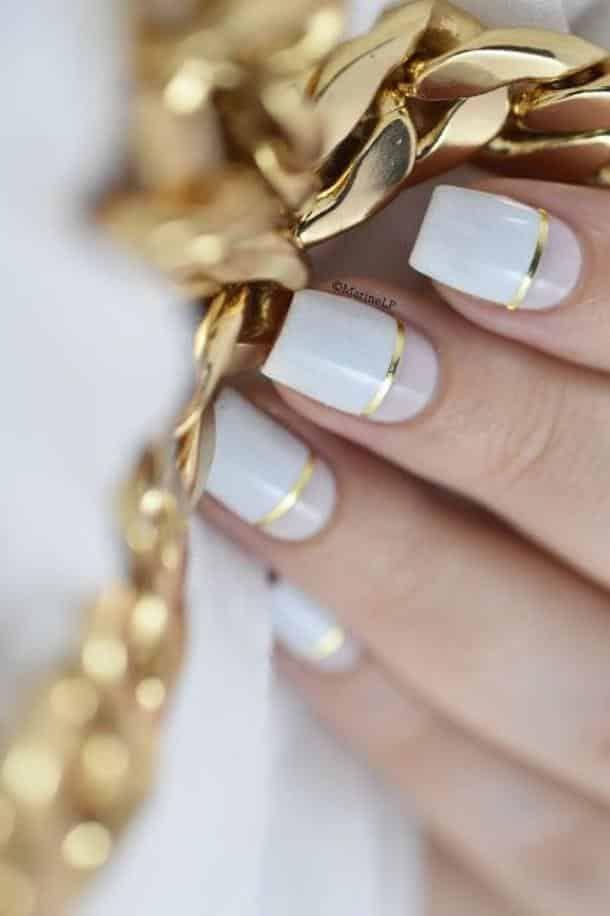 nail art rose blanc et doré