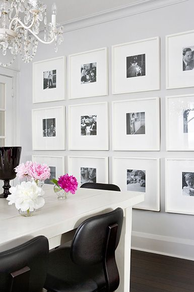 photo wall idea: Dining Rooms, Ideas, Black And White, Living Room, Gallery Walls, Galleries Wall, Photo Wall, White Frames, Pictures Wall