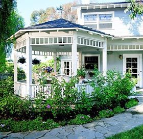 Well Positioned Porch-would add interest and function to plain back yard and straight line house.