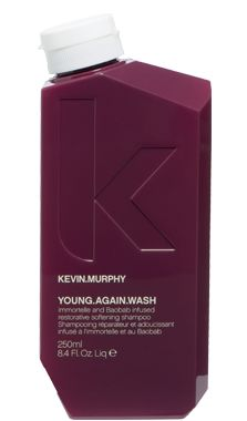 YOUNG.AGAIN.WASH. A restorative shampoo containing a complex of 20 Amino Acids. Anti-ageing extracts from Lotus flower and Orchid help to renew youthful lustre and shine to dry brittle hair.