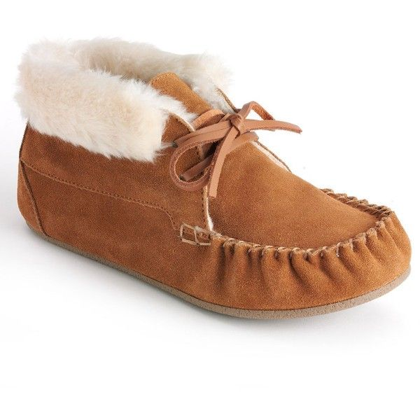 SO® Moccasin Booties - Juniors ($22) ❤ liked on Polyvore featuring shoes, boots, ankle booties, faux fur lined boots, lace up moccasin boots, laced up booties, so boots and so moccasins
