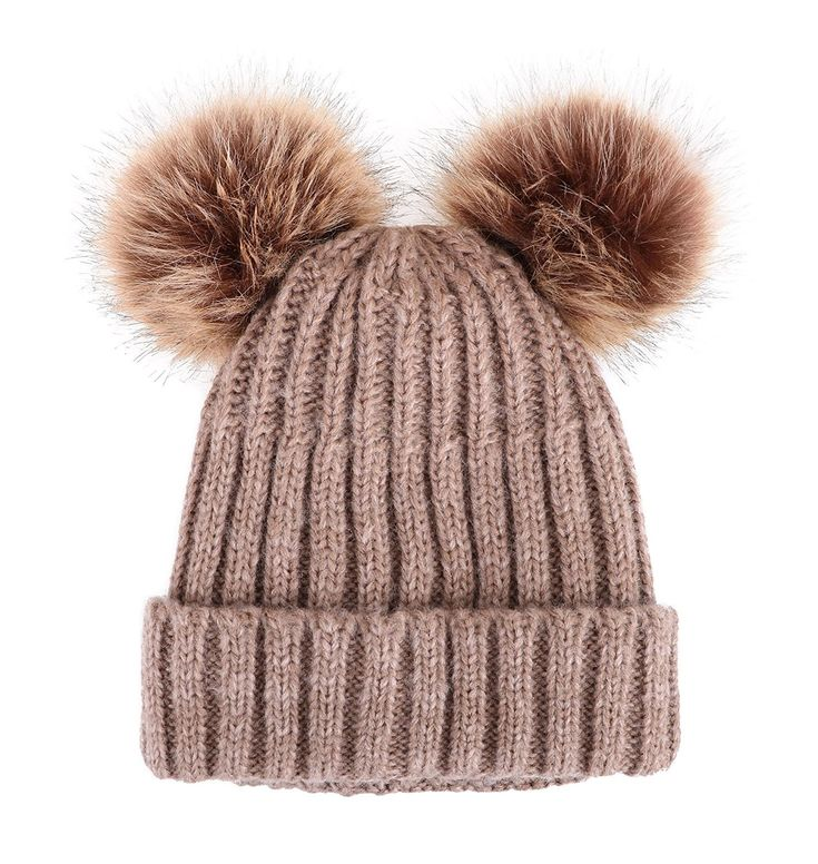 Cable Knit Beanie With Faux Fur Pompom Ears – Khaki Hat Coffee Ball Beige Lining – C3182SEQZEI