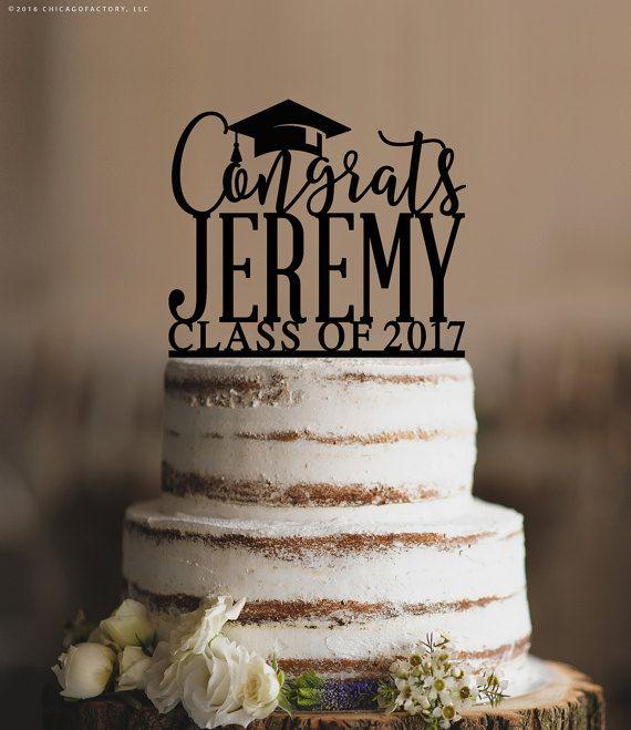 Graduation Cake Topper, Congrats Grad Cake Topper, Graduation Decorations, High School Graduation Cake Topper, Custom Cake Topper (T382)
