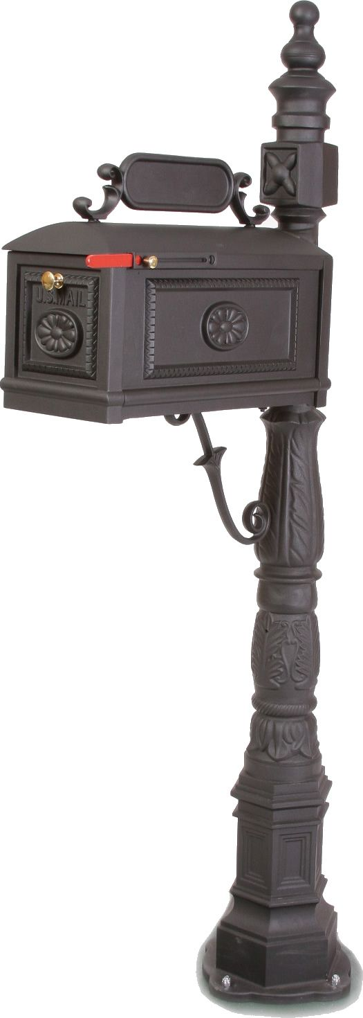 Decorative Cast Aluminum Mailbox - Black Highest Quality Construction, Designed and built to last a lifetime! Easy Assembly, Easy Installation
