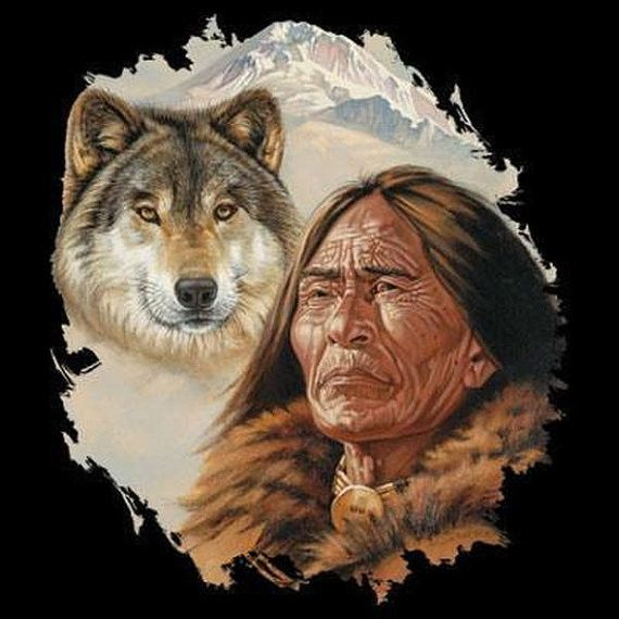 Native American Indian Spirit of the Wolf UNISEX T Shirt Choose Shirt Color: Black, Gray, Navy Blue, White Choose Size: M L XL 2XL (3XL Black and Gray Only) Graphic is on the Front of the Shirt Please