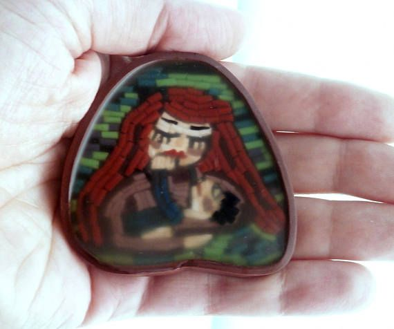 Mother child jewelry micro-mosaic polymer clay brooch child in mother's arms by Lijoux
