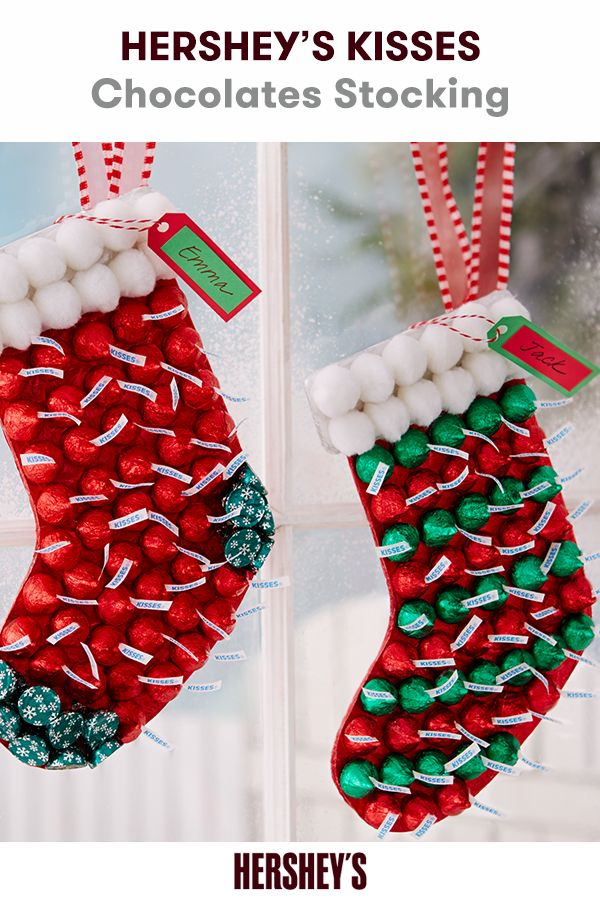 Sweeten Christmas Morning With A HERSHEYS KISSES Chocolates Stocking Learn How To Make This Festive