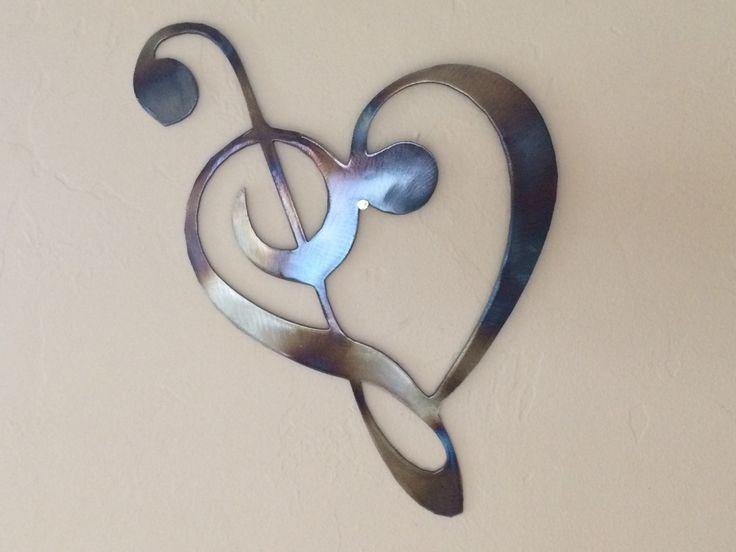 Heart Music Notes Metal Wall Art Decor
