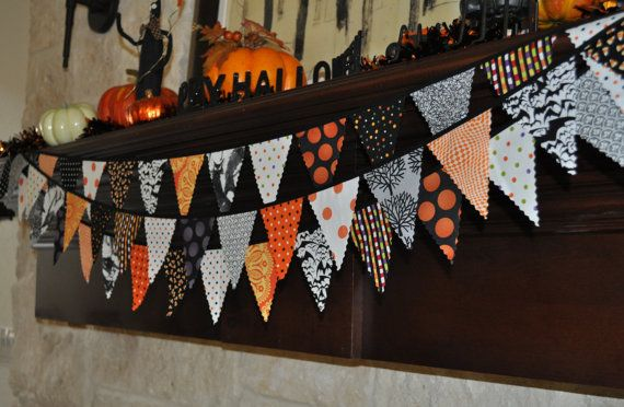 ON SALE:Fabric Halloween banner bunting, holiday party decoration, photo prop