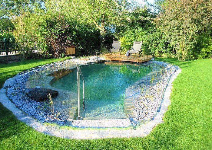 Wochenende Am Eigenen Schwimmteich Modern Design Small Backyard Pools Natural Swimming Pools Backyard Pool Designs